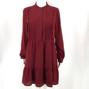 J CREW Dress 10 Red Pintuck Peasant Ruffle Boho